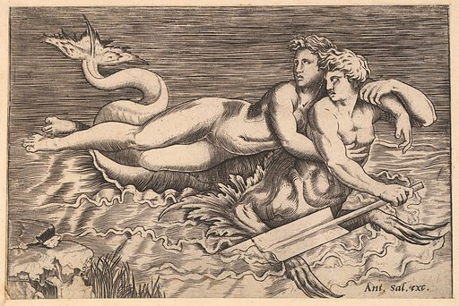 Speculum Romanae Magnificentiae: A Triton Carrying off a Nymph (16th century). Accession number: 41.72(2.151).