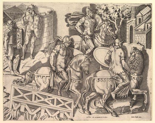 Speculum Romanae Magnificentiae: Roman Horsemen Crossing a Bridge (from Trajan's Column) (16th century). Accession number: 41.72(2.127).