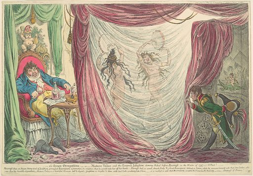 Ci-devant Occupations; or, Madame Talian and the Empress Josephine Dancing Naked before Barrass in the Winter of 1797. - A Fact! (February 20, 1805). Accession number: 17.3.888-61.