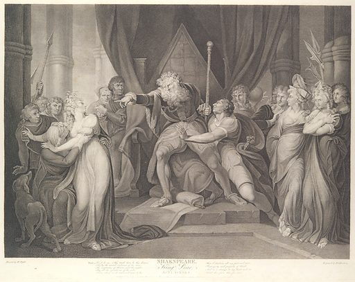 King Lear Casting Out His Daughter Cordelia (Shakespeare, King Lear, Act 1, Scene 1) (first published 1792; reissued 1852). Accession number: 42.119.540.
