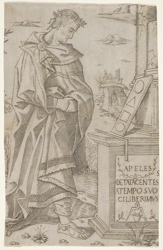 Apelles standing profile looking at a tablet of geometric figures (1500–1510). Accession number: 17.50.98.