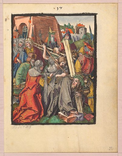 The Bearing of the Cross, from the Small Woodcut Passion (n.d.). Accession number: 1975.653.112(22).
