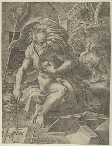 Diogenes seated with his barrel behind him, and reading a book while holding a stick that rests on a geometry book to his right (ca. 1526–27). Accession number: 17.3.3416.