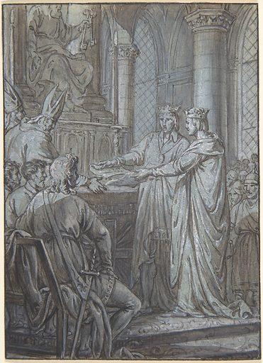 Louis III et Carloman donnent aux eveques du Royaume l'assurance de leur Fidelite en 882 (ca. 1791). Accession number: 52.567.9.