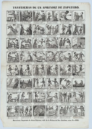 Broadside with 48 scenes depicting the antics of the shoemaker's apprentice (1861). Accession number: 1978.643.24(1).