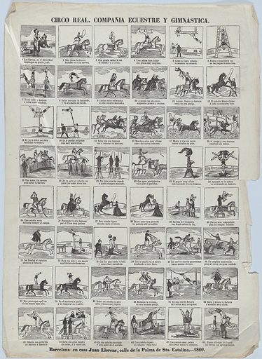 Broadside with 48 scenes depicting the equestrian and gymnastic moves of the royal circus (1860). Accession number: 1978.643.22(2).