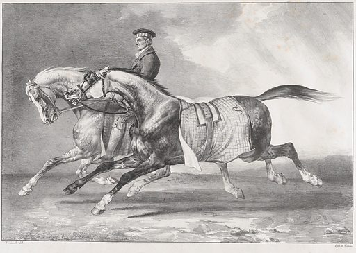 Two Dappled-Grey Horses Being Exercised (1822). Accession number: 20.17.7.