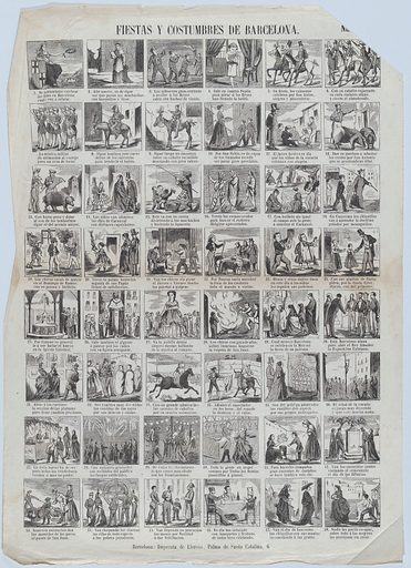 Broadside with 48 scenes depicting the celebrations and customs of Barcelona (ca. 1860–70). Accession number: 1978.643.26(11).