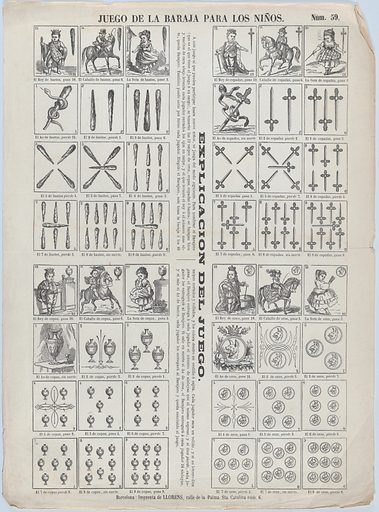 Sheet of playing cards for children (ca. 1860–70). Accession number: 1978.643.26(13).
