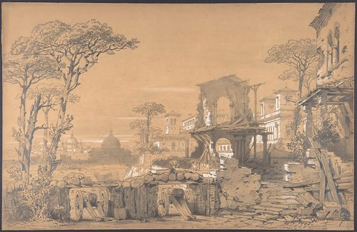 Design for a Stage Set at the Opéra, Paris: Landscape Looking Toward Rome (1830–90). Accession number: 53.668.245.