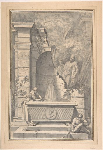 A Woman at a Fountain by a Ruined Temple, the Farnese Hercules in the Background (1726–50). Accession number: 2003.96.