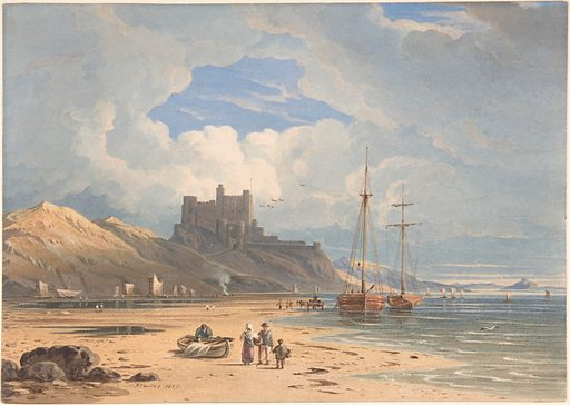 Bamborough Castle from the Northeast, with Holy Island in the Distance, Northumberland. Date: 1827. Accession number: 2003135.