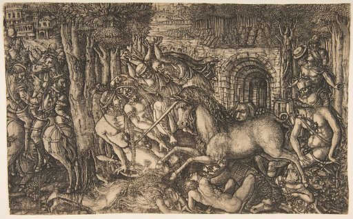 A King Pursued by a Unicorn, from the Unicorn Series (ca. 1555). Accession number: 51.570.