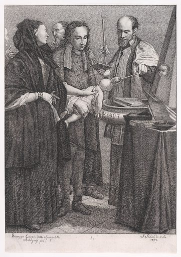 """Baptism, from """"The Seven Sacraments"""" (1754). Accession number: 62.602.92."""