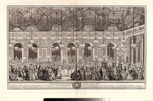 Decoration for a Masked Ball at Versailles, on the Occasion of the Marriage of Louis, Dauphin of France, and Maria Theresa, Infanta of Spain (Bal masqué donné par le roi, dans la grande galerie de Versailles, pour le mariage de Dauphin, 1745) (ca. 1860 reprint of 1764 plate). Accession number: 30.22(34.34).