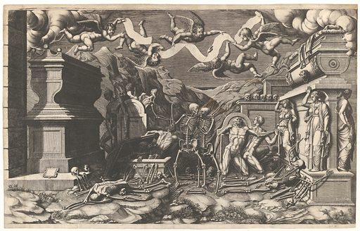 The Vision of Ezekiel; a group of corpses and skeletons emerging out of tombs, above them five winged putti holding a banderole (1554). Accession number: 1994.297.3.
