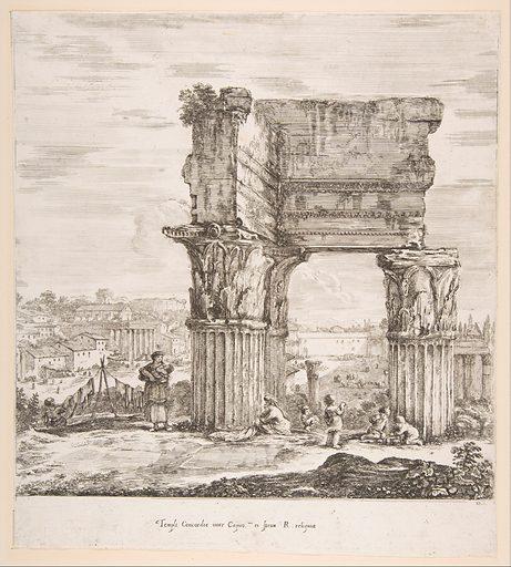The Temple of Vespasian and the Roman Forum, from 'Six large views, four of Rome, and two of the Roman countryside' (Six grandes vues, dont quatre de Rome et deux de la Campagne romaine) (1656). Accession number: 17.50.17-294.