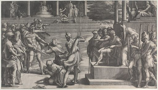 The martyrdom of Saint Paul and the condemnation of Saint Peter (1524–27). Accession number: 27.78.2(2).