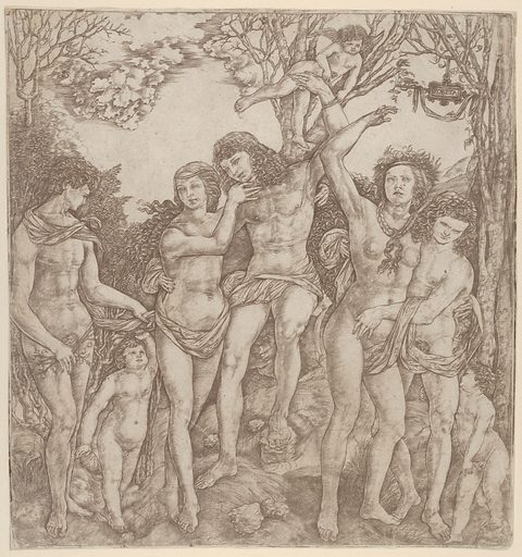 Allegory of the Power of Love, with a man at center embracing a semi-naked woman, who is bound to a tree by Cupid (1480–1535). Accession number: 29.44.20.
