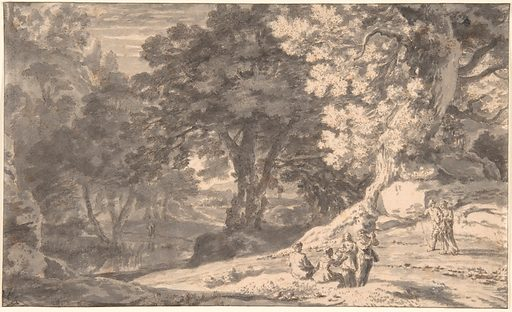 A Wooded Landscape with Travellers by the Roadside, a Stream beyond (17th century). Accession number: 2003.320.