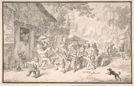 An Itinerant Peddler in a Village (1693). Accession number: 2003.321.