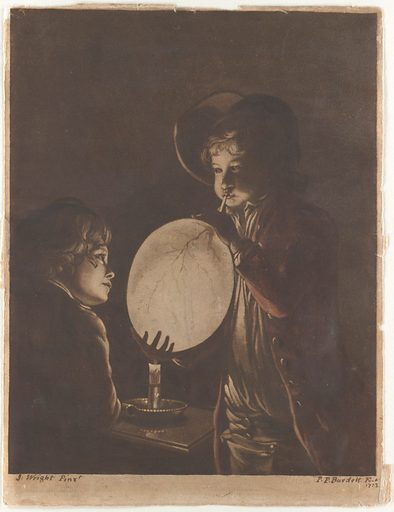 Two Boys Blowing a Bladder by Candle-light (1773). Accession number: 68.589a.