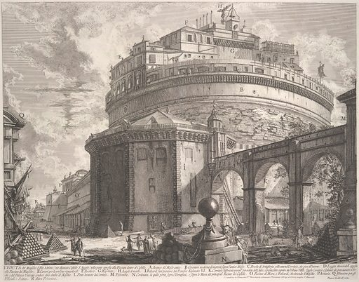 View of the Mausoleum of the Emperor Hadrian (now called Castel S Angelo) from the rear, from Vedute di Roma (Roman Views). Date: ca 1756. Accession number: 555676.