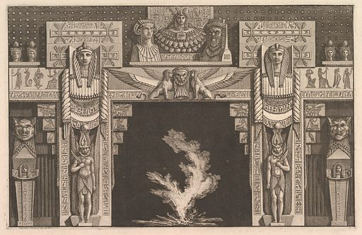 Chimneypiece in the Egyptian style, from Diverse Maniere d'adornare i cammini (...) (Different Ways of ornamenting chimneypieces and all other parts of houses) (ca. 1769). Accession number: 1973.509.8.