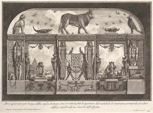 Egyptian decoration of the Caffè degli Inglesi: Animals on the cornice, including a bull at the center, from Diverse Maniere d