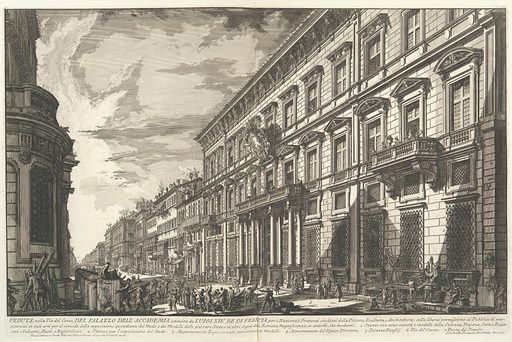 View along the Via del Corso of the Palazzo dell'Accademia, established by Louis XIV, King of France for French students of Painting, Sculpture and Architecture..., from Vedute di Roma (Views of Rome), part I (ca. 1750–78). Accession number: 41.71.1.16(29).