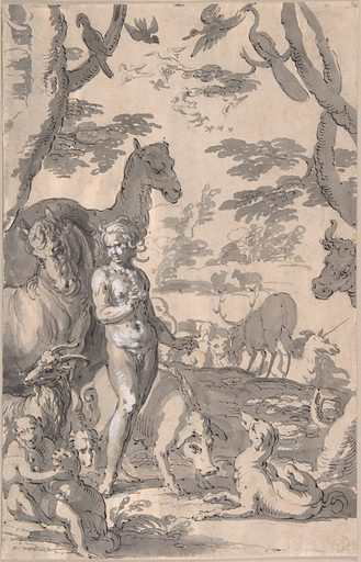 Adam in the Garden of Eden, Naming the Animals (ca. 1605–10). Accession number: 2003.279.