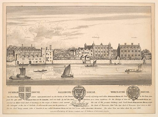 Durham House, Salisbury House and Worcester House on the Thames (1808). Accession number: 17.3.1166-296.