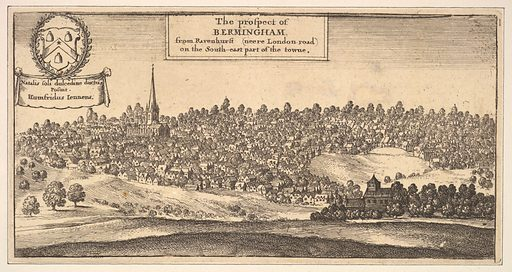 """The Prospect of Bermingham [Birmingham], from Ravenshurst (neere London-road) on the South-east part of towne (from Dugdale's """"The Antiquities of Warwickshire,"""" 1656, p. 957). Date: 1656. Accession number: 1731166–376."""
