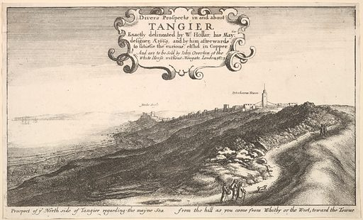 Prospect of ye North side of Tangier regarding the mayne Sea from the hill as you come from Whitby or the West, toward the Towne (by 1673). Accession number: 17.50.17-413.