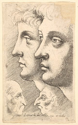 Two youths in profile to left with two grotesque heads facing each other below (1625–77). Accession number: 17.50.18-248.