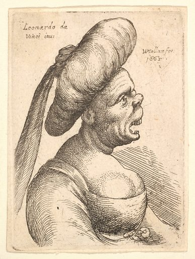 Bust of woman with wide open mouth and up-turned nose, wearing large flat turban with cloth hanging down behind in profile to right (1665). Accession number: 17.50.18-265.