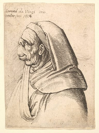Bust of a man with a small turned-up nose and very high upper lip, wearing hood, in profile to the left (1666). Accession number: 17.50.18-270.