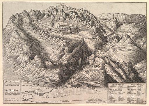 View of La Grande Chartreuse in the French Alps / Descriptio Maioris Cartusiæ Montium, et Ædificiorum dependentium (1649). Accession number: 20.81.2(180).