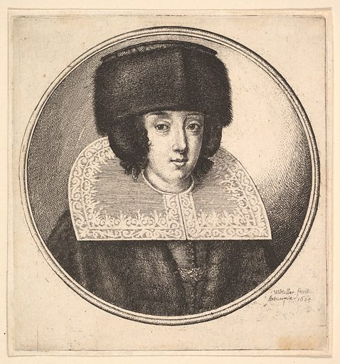 Woman with stiff lace collar and flat-crowned fur hat (1645). Accession number: 20.81.3-4.