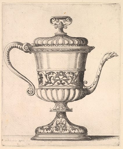 Jug with lid, engraved with arabesque pattern, the narrow spout to right ending in snake's head, handle to left. (1625–77). Accession number: 51.501.2152.