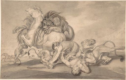 Lions Attacking Two Men and a Horse (1801–59). Accession number: 1975.131.201.