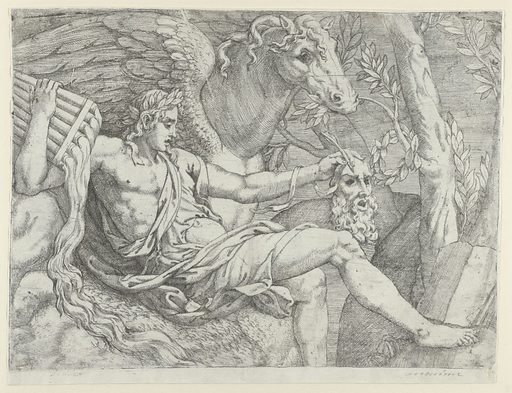 Apollo holding pipes in his right hand accompanied by Pegasus