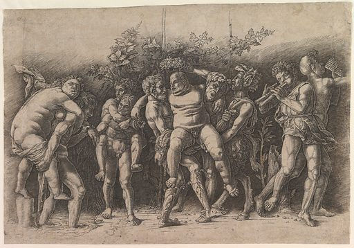 Bacchanal with Silenus; a frieze composition with ten figures around  Silenus who is carried by two satyrs (early 1470s). Accession number: 29.44.15.