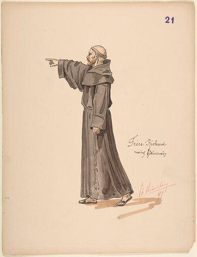 Brother Richard, a Franciscan Monk; costume design for Jeanne d'Arc by the Paris Opera Company, 1897 (1897). Accession number: 1970.731.21.