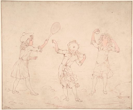 Three Girls Playing at Ball at the Seaside (ca. 1890–ca. 1910). Accession number: 63.614.5.