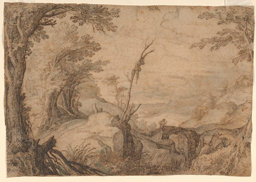 Skeleton Hanging from a Tree in a Landscape (late 16th–early 17th century). Accession number: 2003.322.