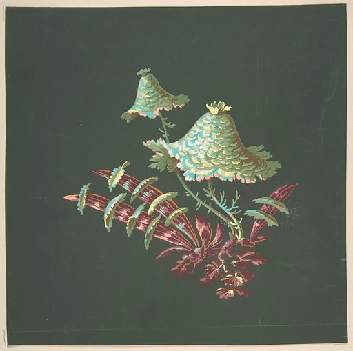 Two Hat-Shaped Chinoiserie Flowers with Fanciful Leaves (19th century). Accession number: 28.55.4.