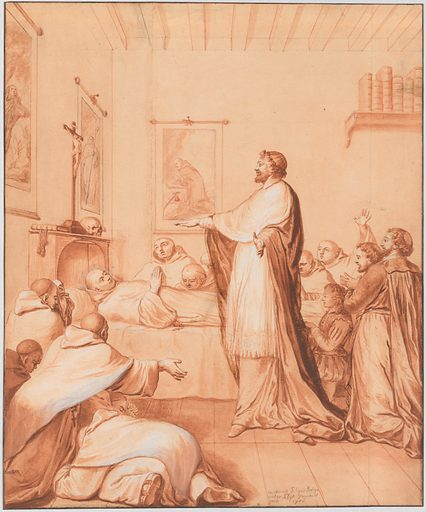 Scene 33: The Blessed Abbot, near death, receives the blessing of the pope, who sends for this purpose Cardinal d'Ossat, a close friend of the saint, whose teacher he had been; he dies in the odor of sanctity, 25 April 1600 (1706). Accession number: 1992.246.8.