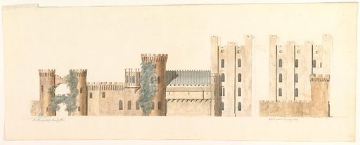 North Aspects of Lea Castle and West Aspect of Wolverly, Cookly, Worcestershire (ca. 1816). Accession number: 56.601(3).