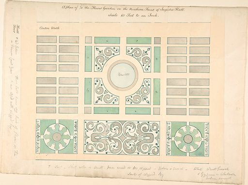 Plan of the Flower Garden on the Northern Front, Ingestre Hall, Staffordshire (1836). Accession number: 28.88.8–1.